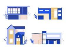 σύγχρονος κατοικημένος & Διαφορετική βίλα, εξοχικό σπίτι, townhouse Σύνολο αστικών και προαστιακών σπιτιών επίσης corel σύρετε το διανυσματική απεικόνιση