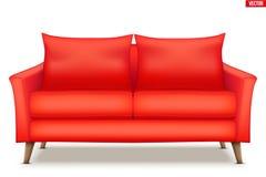 Σύγχρονος κόκκινος μαλακός καναπές ελεύθερη απεικόνιση δικαιώματος