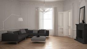 Σύγχρονος μινιμαλιστικός καναπές στο κλασικό εκλεκτής ποιότητας καθιστικό με το firep απεικόνιση αποθεμάτων