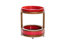 Σύγχρονος ξύλινος και κόκκινος στρογγυλός μπουφές Στοκ Φωτογραφία