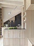 σύγχρονος ξύλινος κουζ& Στοκ εικόνες με δικαίωμα ελεύθερης χρήσης