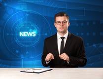 Σύγχρονος παρουσιαστής televison που λέει τις ειδήσεις με το υπόβαθρο tehnology Στοκ φωτογραφίες με δικαίωμα ελεύθερης χρήσης