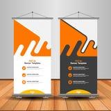 Σύγχρονος πορτοκαλής ρόλος επάνω στο έμβλημα Σχέδιο προτύπων διαφήμισης διανυσματικό απεικόνιση αποθεμάτων