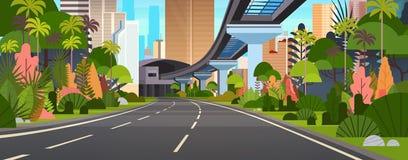 Σύγχρονος πόλεων δρόμος εθνικών οδών εμβλημάτων άποψης οριζόντιος με τους ουρανοξύστες και το σιδηρόδρομο διανυσματική απεικόνιση