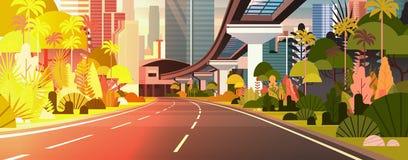 Σύγχρονος πόλεων ηλιοβασιλέματος δρόμος εθνικών οδών εμβλημάτων άποψης οριζόντιος με τους ουρανοξύστες και το σιδηρόδρομο ελεύθερη απεικόνιση δικαιώματος