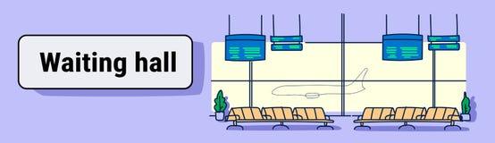 Σύγχρονος τελικός κενός σαλονιών αναχώρησης αιθουσών αναμονής αερολιμένων εσωτερικός κανένας άνθρωπος σκιαγραφεί doodle το οριζόν διανυσματική απεικόνιση