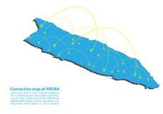 Σύγχρονος του σχεδίου δικτύων συνδέσεων χαρτών του Aruba, καλύτερη έννοια Διαδικτύου της επιχείρησης χαρτών του Aruba από τη σειρ Στοκ Φωτογραφία