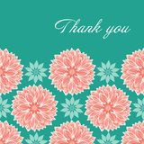 Σύγχρονος τυποποιημένος waterlily ή το σχέδιο mandalas λουλουδιών νταλιών στο ροδάκινο και το μπλε με κομψό σας ευχαριστεί που γρ διανυσματική απεικόνιση