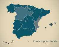 Σύγχρονος χάρτης - Ισπανία με τις επαρχίες ES απεικόνιση αποθεμάτων