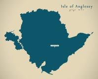Σύγχρονος χάρτης - νησί Anglesey Ουαλία UK Στοκ Φωτογραφίες