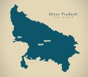 Σύγχρονος χάρτης - Ουτάρ Πραντές στην απεικόνιση ομοσπονδιακών κρατών της Ινδίας απεικόνιση αποθεμάτων