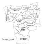 Σύγχρονος χάρτης πόλεων - η πόλη του Σάντερλαντ της Αγγλίας με τους θαλάμους και οι τίτλοι UK περιγράφουν το χάρτη ελεύθερη απεικόνιση δικαιώματος