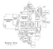 Σύγχρονος χάρτης πόλεων - πόλη Καλιφόρνιας Σάντα Άννα των ΗΠΑ με το neig Στοκ Φωτογραφία