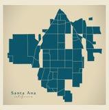 Σύγχρονος χάρτης πόλεων - πόλη Καλιφόρνιας Σάντα Άννα των ΗΠΑ με το neig Στοκ εικόνα με δικαίωμα ελεύθερης χρήσης