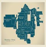 Σύγχρονος χάρτης πόλεων - πόλη Καλιφόρνιας Σάντα Άννα των ΗΠΑ με το neig Στοκ εικόνες με δικαίωμα ελεύθερης χρήσης
