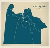 Σύγχρονος χάρτης πόλεων - πόλη της Βιρτζίνια Chesapeake των ΗΠΑ με τις γειτονιές ελεύθερη απεικόνιση δικαιώματος