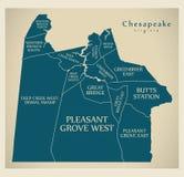 Σύγχρονος χάρτης πόλεων - πόλη της Βιρτζίνια Chesapeake των ΗΠΑ με τις γειτονιές και τους τίτλους ελεύθερη απεικόνιση δικαιώματος