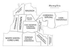 Σύγχρονος χάρτης πόλεων - πόλη της Μέμφιδας Τένεσι των ΗΠΑ με το neighbo απεικόνιση αποθεμάτων