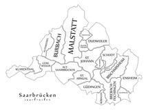 Σύγχρονος χάρτης πόλεων - πόλη της Σάαρμπρουκεν της Γερμανίας με τους δήμους και Στοκ Φωτογραφίες