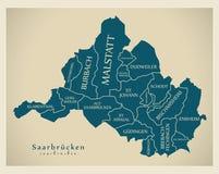 Σύγχρονος χάρτης πόλεων - πόλη της Σάαρμπρουκεν της Γερμανίας με τους δήμους και Στοκ φωτογραφίες με δικαίωμα ελεύθερης χρήσης