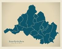 Σύγχρονος χάρτης πόλεων - πόλη της Σάαρμπρουκεν της Γερμανίας με τους δήμους de Στοκ εικόνες με δικαίωμα ελεύθερης χρήσης