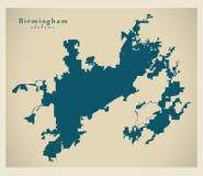 Σύγχρονος χάρτης πόλεων - πόλη του Μπέρμιγχαμ Αλαμπάμα των ΗΠΑ ελεύθερη απεικόνιση δικαιώματος