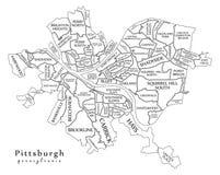 Σύγχρονος χάρτης πόλεων - πόλη του Πίτσμπουργκ Πενσυλβανία των ΗΠΑ με το ν Στοκ εικόνες με δικαίωμα ελεύθερης χρήσης