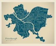 Σύγχρονος χάρτης πόλεων - πόλη του Πίτσμπουργκ Πενσυλβανία των ΗΠΑ με το ν Στοκ Εικόνες