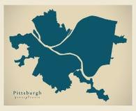 Σύγχρονος χάρτης πόλεων - πόλη του Πίτσμπουργκ Πενσυλβανία των ΗΠΑ Στοκ εικόνα με δικαίωμα ελεύθερης χρήσης