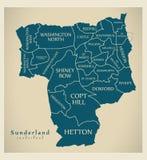 Σύγχρονος χάρτης πόλεων - πόλη του Σάντερλαντ της Αγγλίας με τους θαλάμους και τους τίτλους UK ελεύθερη απεικόνιση δικαιώματος