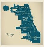 Σύγχρονος χάρτης πόλεων - πόλη του Σικάγου των ΗΠΑ με τους δήμους και titl διανυσματική απεικόνιση