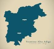 Σύγχρονος χάρτης - ΤΠ Ιταλία Trentino - Alto Adige διανυσματική απεικόνιση
