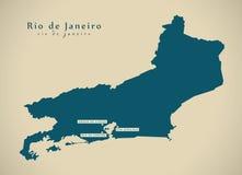 Σύγχρονος χάρτης - BR Βραζιλία Ρίο ντε Τζανέιρο ελεύθερη απεικόνιση δικαιώματος