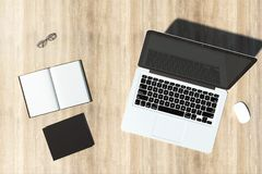 Σύγχρονος χώρος εργασίας γραφείων με το copyspace στοκ φωτογραφία με δικαίωμα ελεύθερης χρήσης