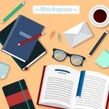Σύγχρονος χώρος εργασίας επιχειρησιακών γραφείων διανυσματική απεικόνιση