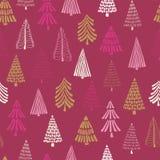 Σύγχρονο άνευ ραφής διανυσματικό υπόβαθρο χριστουγεννιάτικων δέντρων doodle Ρόδινο χρυσό άσπρο σχέδιο διακοπών για τα κορίτσια, γ διανυσματική απεικόνιση