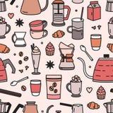 Σύγχρονο άνευ ραφής σχέδιο με τα εργαλεία και τα εργαλεία για τον καφέ που κάνει ή που παρασκευάζει, νόστιμα επιδόρπια, καρυκεύμα απεικόνιση αποθεμάτων