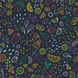 Σύγχρονο άνευ ραφής σχέδιο με τα κομμάτια των εύγευστων λαχανικών, των τροπικών φρούτων και των μούρων που σύρονται με τις ζωηρόχ Διανυσματική απεικόνιση