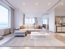 Σύγχρονο άσπρο γκρίζο εσωτερικό σχέδιο καθιστικών Στοκ Εικόνα