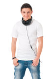 Σύγχρονο άτομο με τα ακουστικά στοκ εικόνες