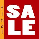 Σύγχρονο έμβλημα πώλησης στο επίπεδο ύφος με την πώληση Word στο κόκκινο Στοκ Φωτογραφίες