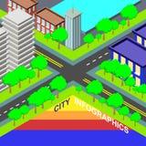 Σύγχρονο έμβλημα επιλογής πληροφοριών γραφικό με τη ζωηρόχρωμη isometric πόλη ελεύθερη απεικόνιση δικαιώματος