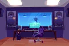 Σύγχρονο ακουστικό εσωτερικό διάνυσμα στούντιο καταγραφής ελεύθερη απεικόνιση δικαιώματος