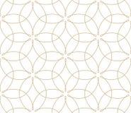 Σύγχρονο απλό γεωμετρικό διανυσματικό άνευ ραφής σχέδιο με τα χρυσά λουλούδια, σύσταση γραμμών στο άσπρο υπόβαθρο Ελαφριά περίληψ στοκ εικόνα