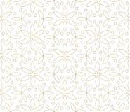Σύγχρονο απλό γεωμετρικό διανυσματικό άνευ ραφής σχέδιο με τα χρυσά λουλούδια, σύσταση γραμμών στο άσπρο υπόβαθρο Ελαφριά περίληψ στοκ φωτογραφία με δικαίωμα ελεύθερης χρήσης