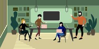 Σύγχρονο αστικό εσωτερικό χώρου εργασίας eco πράσινο διανυσματική απεικόνιση