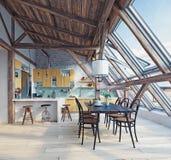 Σύγχρονο αττικό εσωτερικό κουζινών Στοκ Εικόνες