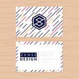 Σύγχρονο αφηρημένο και καθαρό πρότυπο επαγγελματικών καρτών στο ριγωτό υπόβαθρο Επίπεδο σχέδιο Στοκ Εικόνες
