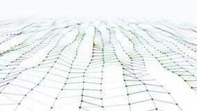 Σύγχρονο αφηρημένο σκούρο κόκκινο, πράσινο, μπλε κύμα επιφάνειας μορίων με το οπτικό πεδίο ελεύθερη απεικόνιση δικαιώματος