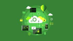 Σύγχρονο βίντεο βρόχων επιχειρησιακού infographic σχεδίου παρουσίασης υπολογισμού σύννεφων απόθεμα βίντεο